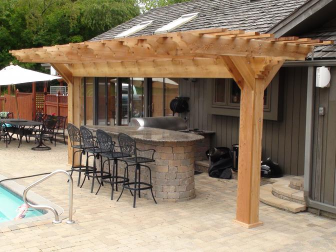 Pergola arbors outdoor kitchen western red cedar pergolas for Outdoor kitchen roof structures